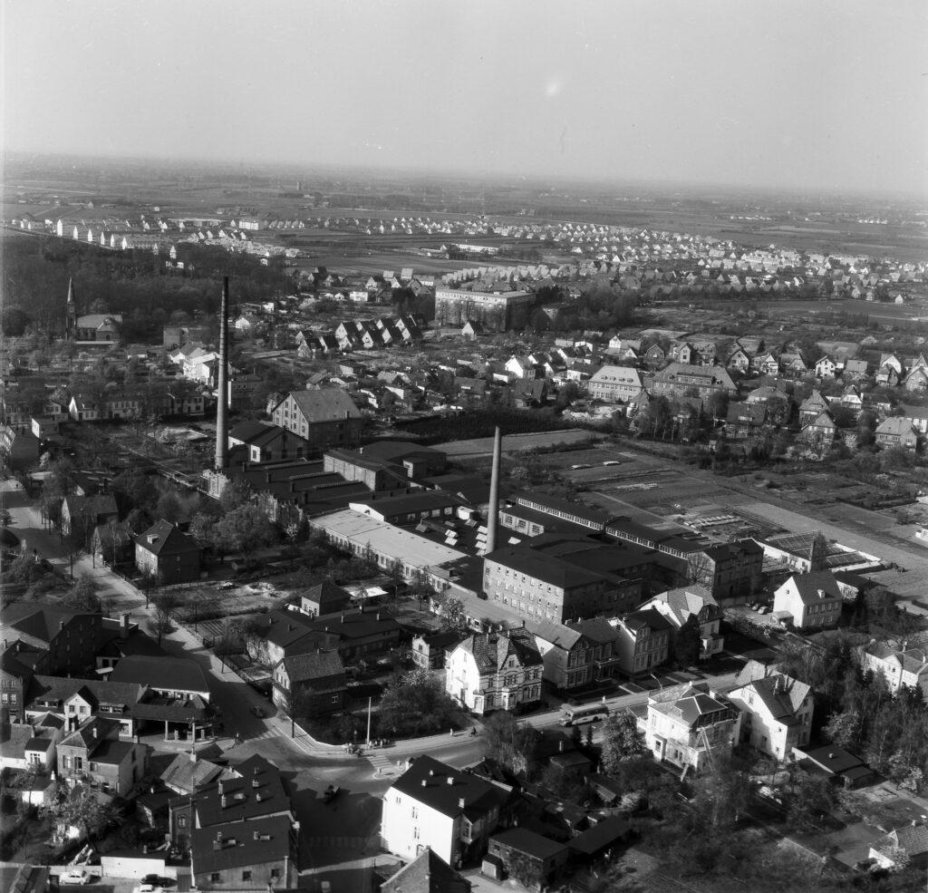Luftbild Elmshorn Vormstegen, Lederfabrik Knecht, Juni 1959