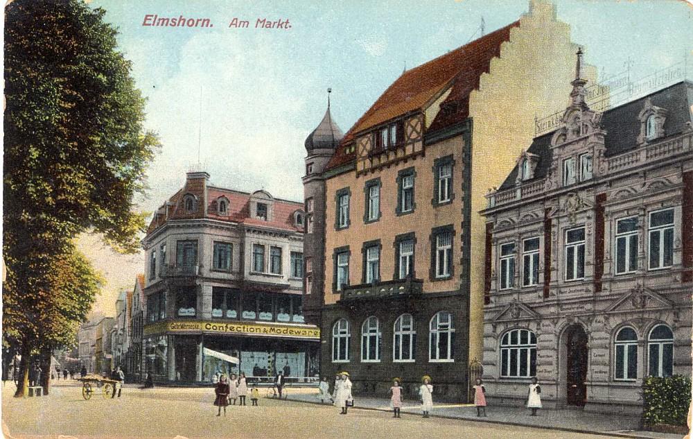Links Kaufhaus, in der Mitte Westholsteinische Bank.