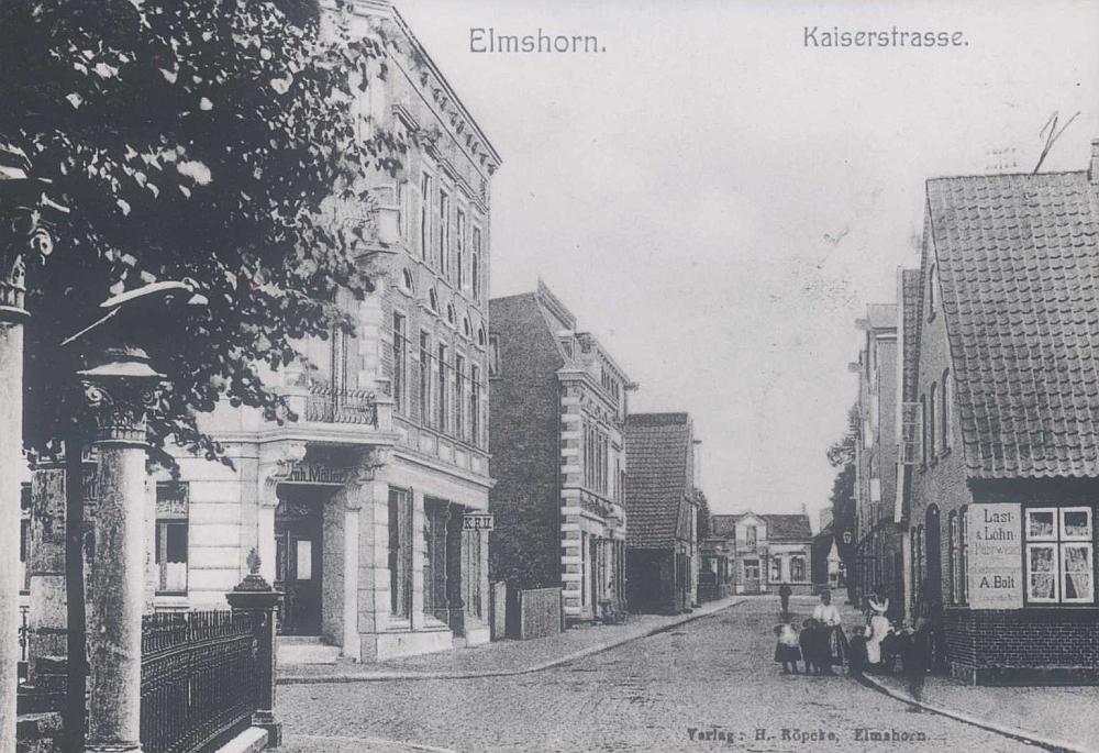 Kaiserstraße um 1900, rechts Gebäude von A. Bolt.