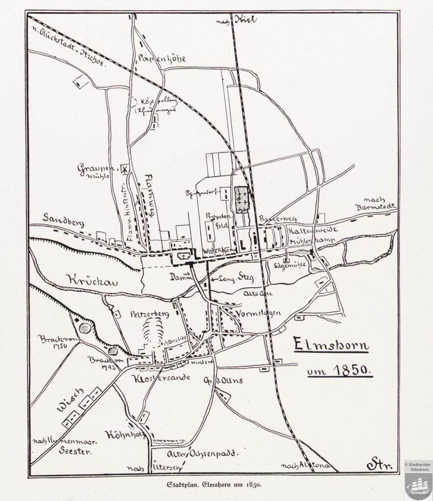 Stadtplan Elmshorn um 1850