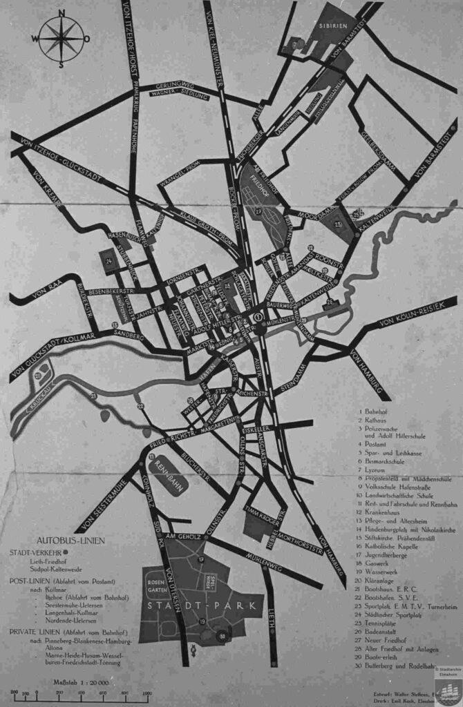 Stadtplan Elmshorn von 1934