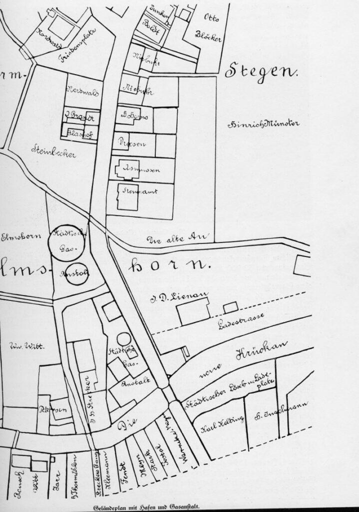 Stadtplan mit Hafen und Gas