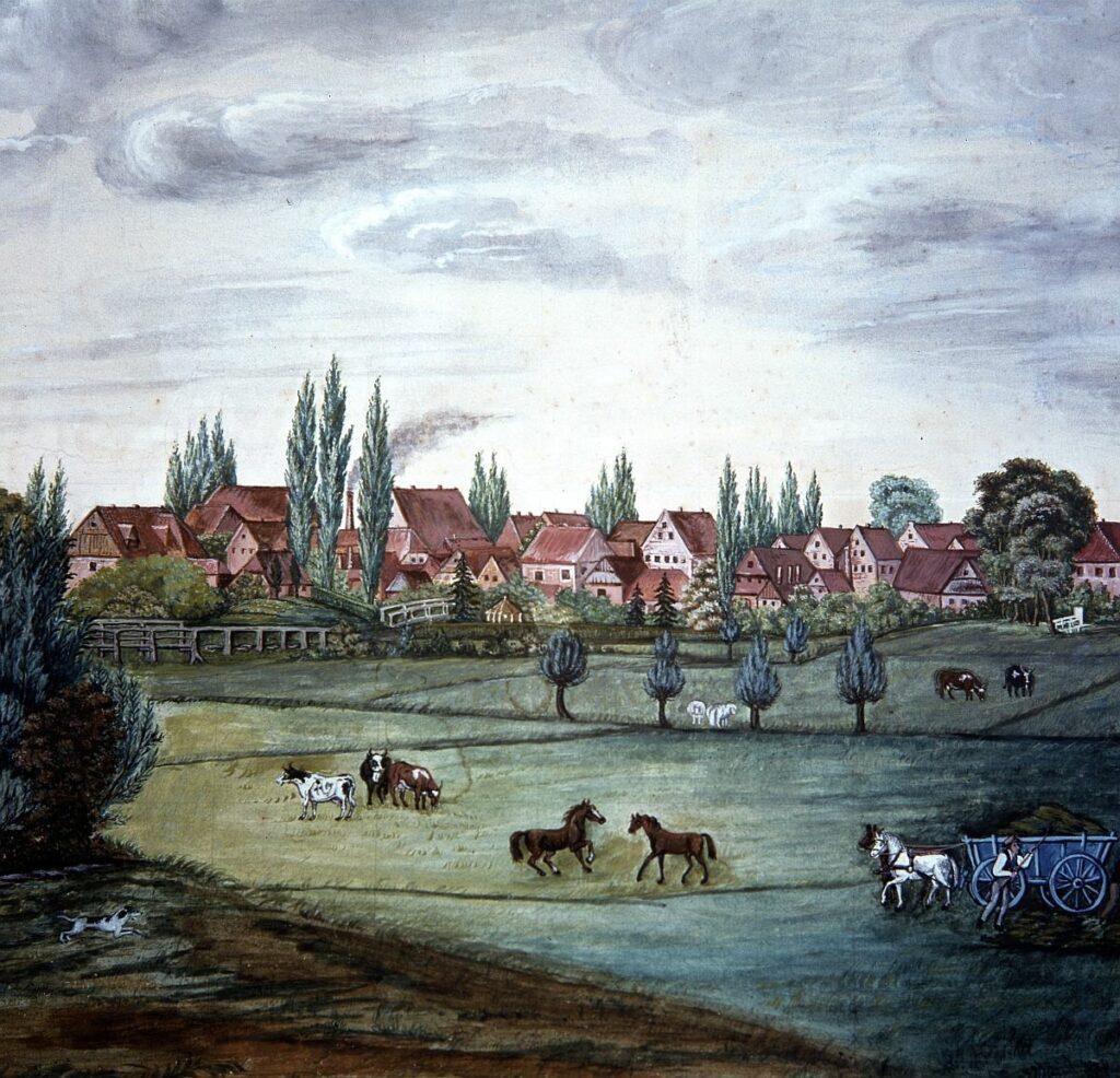 Der Ort um das Jahr 1850. Nach einem Ölgemälde von Lange. Noch ohne den gotischen Turm, mit dem alten Probstenhaus am Wedenkamp (Königstraße), der Pappelallee auf dem Damm (Kaiserstraße).