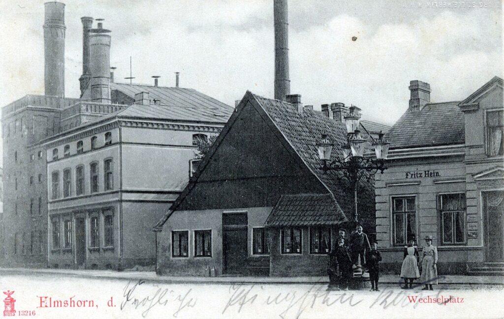 Reichenstraße in der Nähe des Wechelplatzes, rechts Gebäude vom Malermeister Hein.